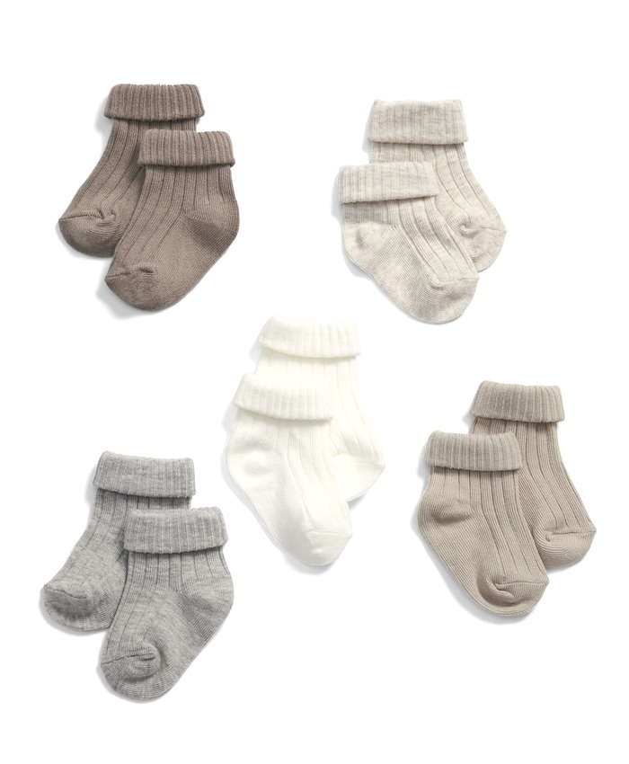 Sand Ribbed Socks (5 Pack)