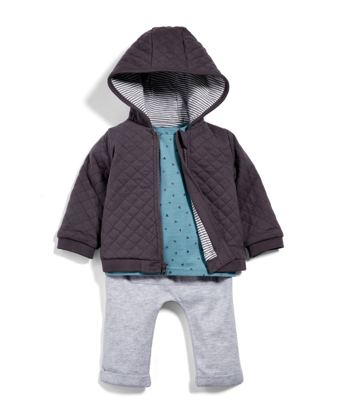 Quilted Jacket, T-Shirt & Trouser Set