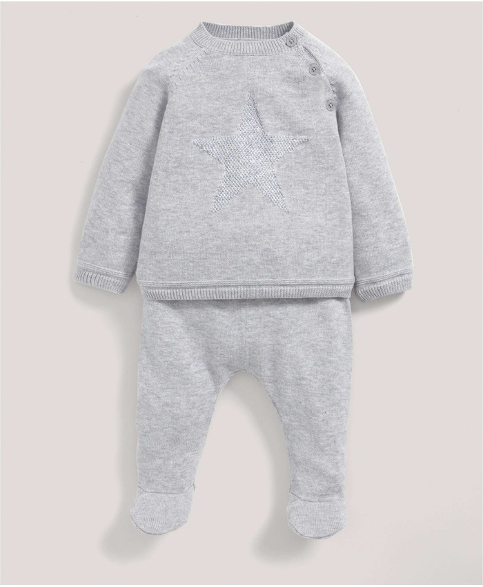 Grey Knitted Star Jumper & Leggings Set