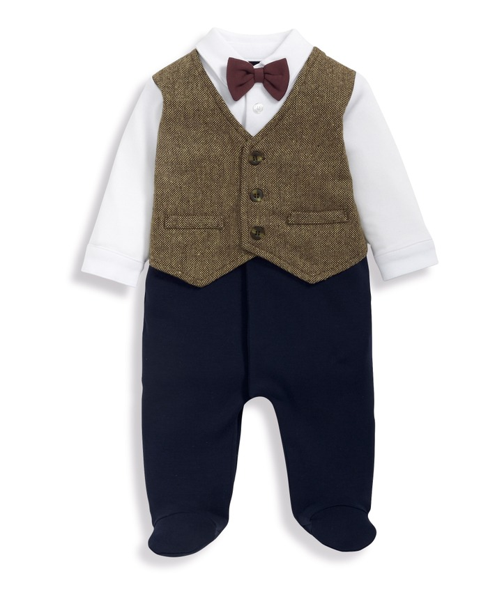 Waistcoat Mock Outfit All-In-One Navy/Grey- 0-3