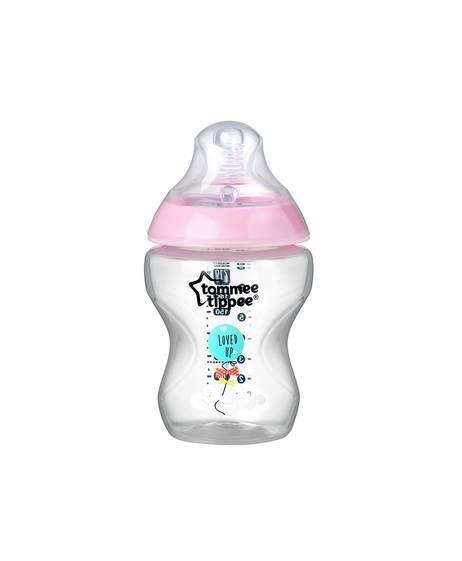 Tommee Tippee Closer to Nature 1x260ml Easi-Vent™ Decorative Feeding Bottle - Girl