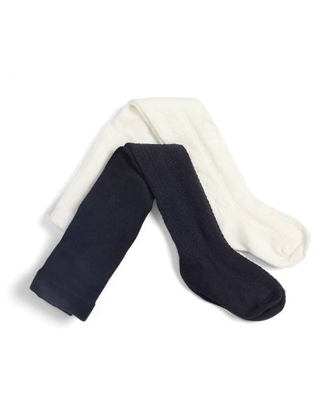 Navy & Cream Tights (2 Pack)