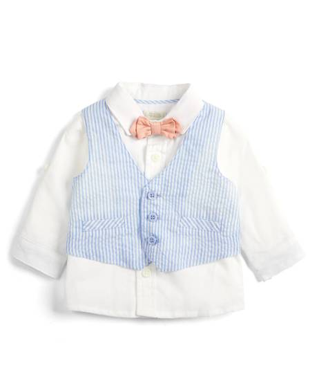 Seersucker Waistcoat, Shirt and Bowtie - 3 Piece Set