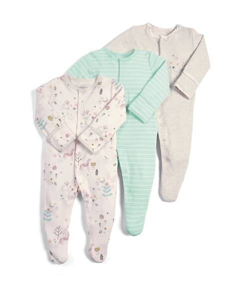 Floral Deer Sleepsuits - 3 Pack