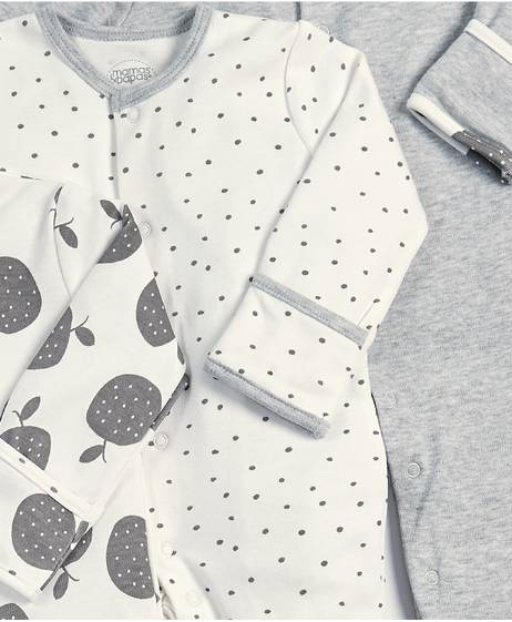 Grey Print Sleepsuits - 3 Pack