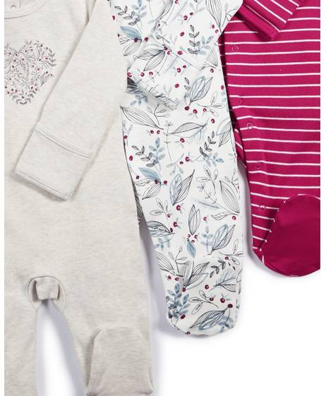 Winter Florals Sleepsuits - 3 Pack