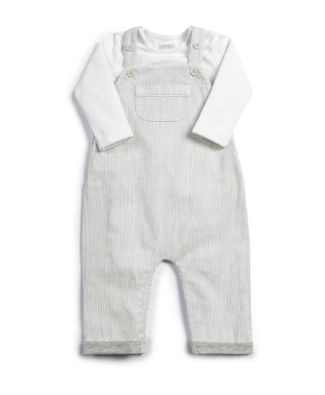 Seersucker Dungarees & Top - 2 Piece Set