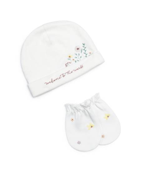 Hello World' Floral Hat & Mitts - 2 Piece Set