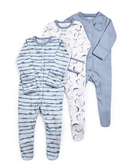 Whale Jersey Sleepsuits - 3 Pack
