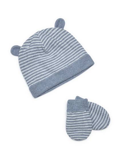 Striped Knit Hat & Mitts - 2 Piece Set