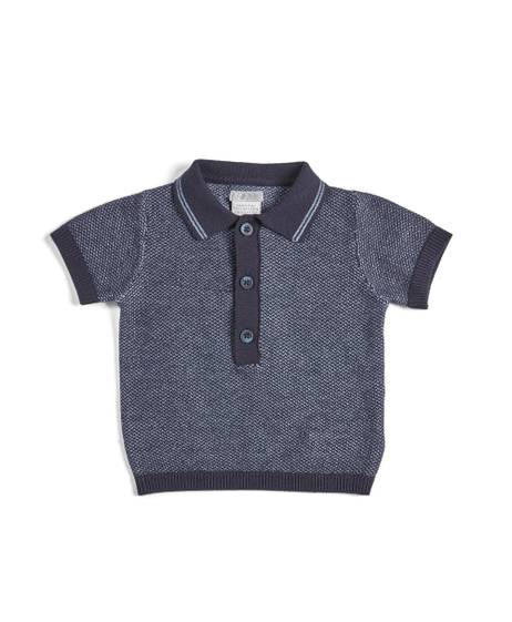 Blue Short-Sleeved Knit Polo