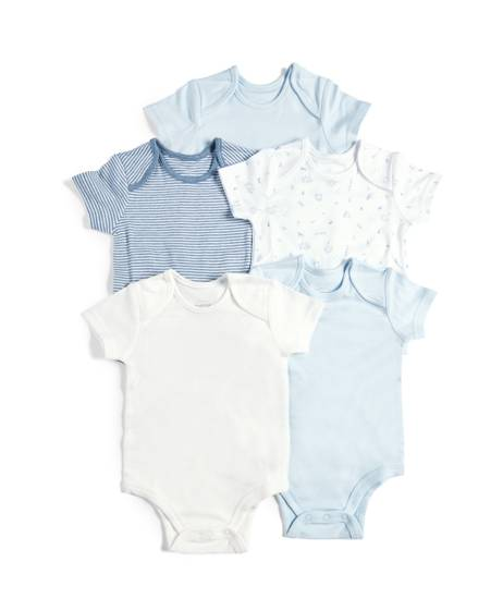 5 Pack of Bodysuits Blue