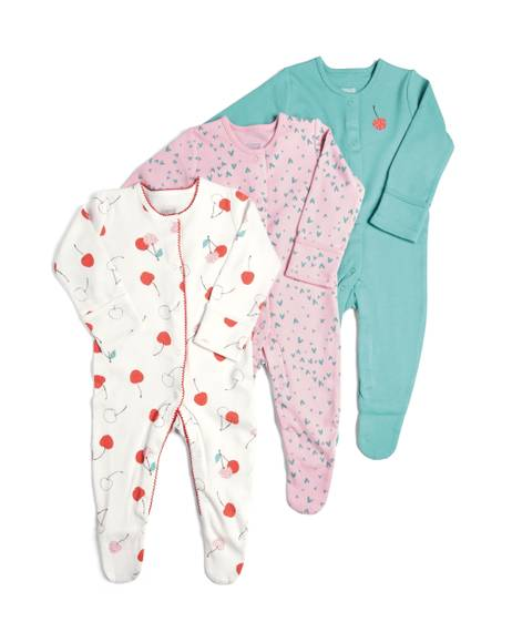 3 Pack of Cherries Sleepsuits