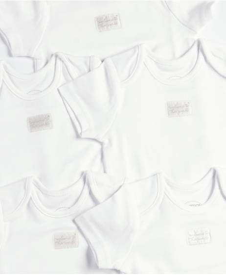 White Short-Sleeved Bodysuits - 5 Pack