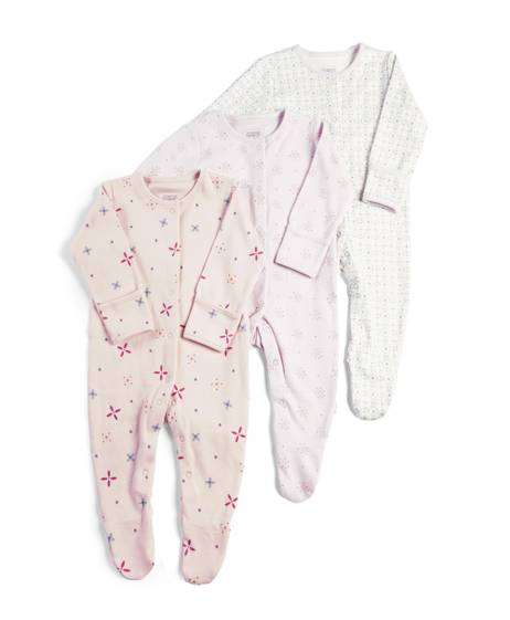 Pack of 3 Girls' Printed Sleepsuits