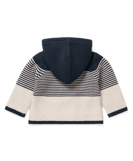 STRIPE KNIT HOODED CARDIGAN