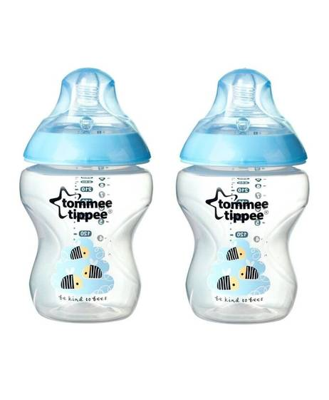 Tommee Tippee Closer to Nature 2x260ml Easi-Vent™ BPA free Decorative Feeding Bottles - Blue