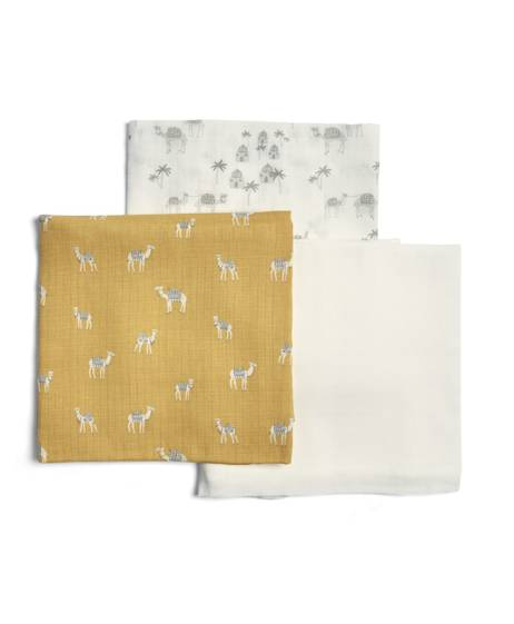 Large Camel Muslin Squares - Sand (Pack of 3)