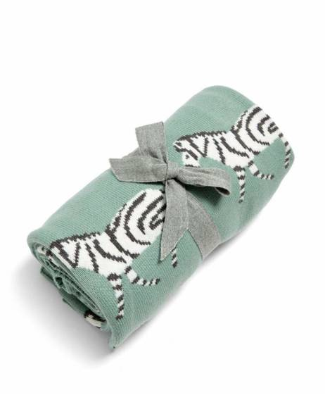 Small Knitted Blanket - Zebra