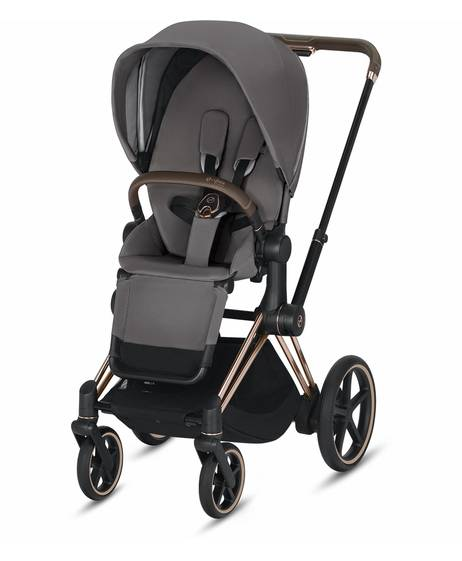 ePRIAM Rosegold stroller with Manhattan Grey seat pack